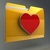 Gele map met rood hart — Stockfoto
