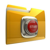 Yellow folder with Red START button — Stock Photo