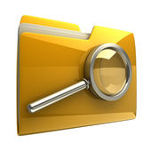 Mappen en bestanden zoeken met vergrootglas. — Stockfoto