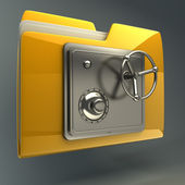 3d illustration of folder icon with security lock dial — Stock Photo