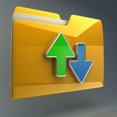Date transferring concepts. Yellow folder icon — Stock Photo