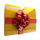 Yellow folder with red ribbon and bow icon — Stock Photo