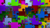 Colorful Puzzle abstract background 3d. Team concept — Stock Photo