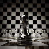 Closeup Black chess pawn background 3d illustration. high resolution — Stock Photo