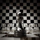Closeup zwarte schaken pion achtergrond 3d illustratie. hoge resolutie — Stockfoto