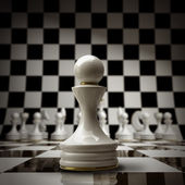 Closeup white chess pawn background 3d illustration. high resolution — Stock Photo