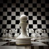 Closeup witte schaken pion achtergrond 3d illustratie. hoge resolutie — Stockfoto