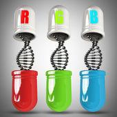 Rgb-concept en de capsule molecuul dna structuur hoge resolutie 3d illustratie — Stockfoto