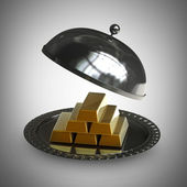 3d illustration. open empty metal silver platter with gold bars High resolution 3d render — Stock Photo