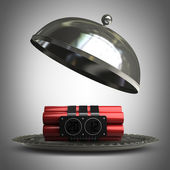Open metal silver platter or cloche with Explosives alarm clock 3d render — Stock Photo