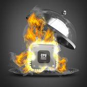Open metal silver platter or cloche with Burning Processor. High resolution 3d render — Stock Photo