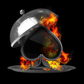 Open metal silver platter or cloche with card sign in Fire. isolated on black background. High resolution 3d render — Stock Photo