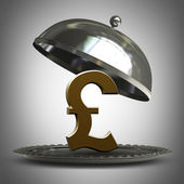 Open metal silver platter or cloche with British pound symbol 3d render — Stock Photo