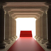 Old columns is ancient style with Red carpet Realistic — Stock Photo