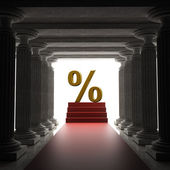 Old columns is ancient style with Red carpet and percent symbol — Stock Photo
