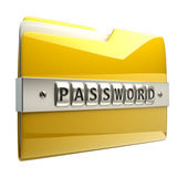 3d illustration of folder icon with security password — Stock Photo