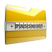 Ilustração 3d do ícone de pasta com senha de segurança — Fotografia Stock