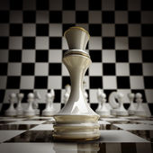 Closeup white chess Queen background — Stock Photo