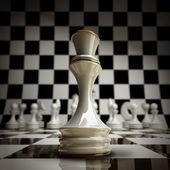 Closeup witte schaken koningin achtergrond — Stockfoto