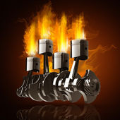 Engine pistons and cog in Fire — Stock Photo