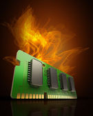 Computer RAM Memory Card in Fire — Stock Photo