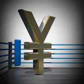 Ring de boxeo con símbolo yen japonés — Foto de Stock