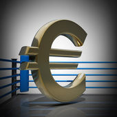Boxing ring with Euro symbol — Stock Photo