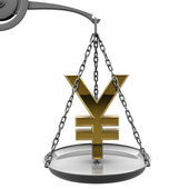 Scale with golden Japanese yen symbol — Stock Photo