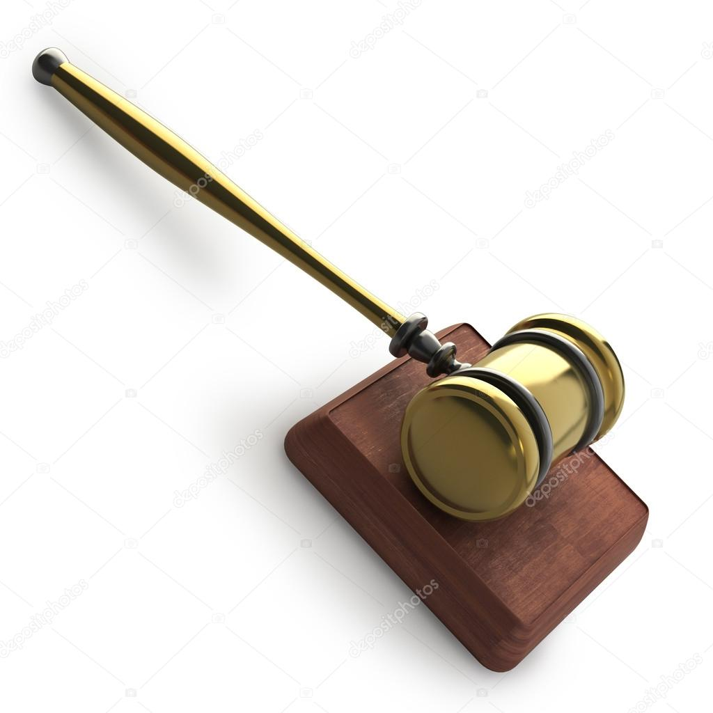 Golden gavel isolated on white backround 3d render — Stock Photo #20326823