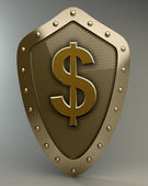 Gold shield with US dollar — Stock Photo