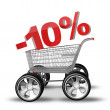 Concept SALE discount 10 percent. shopping cart with big car wheel High resolution 3d render — Stock Photo #20349021