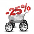 Concept SALE discount 25 percent. shopping cart with big car wheel High resolution 3d render — Stock Photo