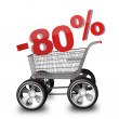 Concept SALE discount 80 percent. shopping cart with big car wheel High resolution 3d render — Stock Photo #20349255