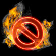 Red forbidden sign in Fire — Stock Photo #20349657