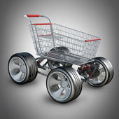 Concept. shopping cart with big car wheel High resolution 3d render — Stock Photo