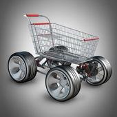 Concepto. carro de compras con coche grande rueda render 3d de alta resolución — Foto de Stock