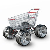Concept. shopping cart with big car wheel isolated on white background High resolution 3d render — Stock Photo