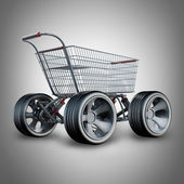 Concept. shopping cart with big car wheel High resolution 3d render — Stockfoto