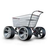 Koncepcja. koszyk z duży samochód koło na białym tle na białym tle wysokiej rozdzielczości renderowania 3d — Zdjęcie stockowe