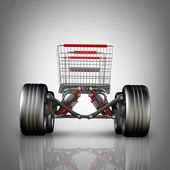 Concept. shopping cart with big car wheel High resolution 3d render — Zdjęcie stockowe