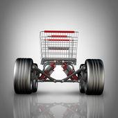 Kavram. büyük araba tekerlek yüksek çözünürlükte 3d render ile alışveriş sepeti — Stok fotoğraf