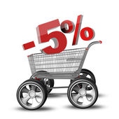 Concept SALE discount 5 percent. shopping cart with big car wheel High resolution 3d render — Stock Photo