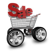 Concept SALE. shopping cart with big car wheel High resolution 3d render — Stock Photo