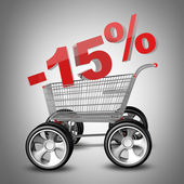 Concept SALE discount 15 percent. shopping cart with big car wheel High resolution 3d render — Stock Photo