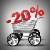 Concept vente rabais 20 %. panier avec grosse voiture roue haute résolution 3d rendu — Photo