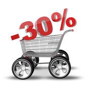 Concepto venta descuento 30. carro de compras con coche grande rueda render 3d de alta resolución — Foto de Stock