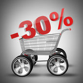 Concepto venta descuento 30 por ciento. carro de compras con coche grande rueda render 3d de alta resolución — Foto de Stock