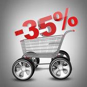 Concepto venta descuento 35%. carro de compras con coche grande rueda render 3d de alta resolución — Foto de Stock