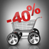 Concept SALE discount 40 percent. shopping cart with big car wheel High resolution 3d render — Stock Photo