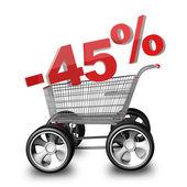 Concepto venta descuento 45 por ciento. carro de compras con coche grande rueda render 3d de alta resolución — Foto de Stock